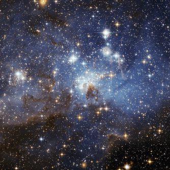 O regiune cu stele în formare în Marele Nor al lui Magellan, o galaxie neregulata