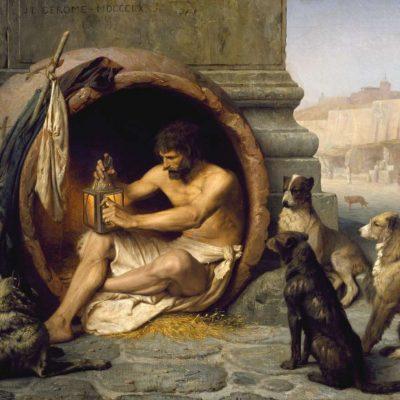 Diogene stând în butoiul său, de Jean-Léon Gérôme