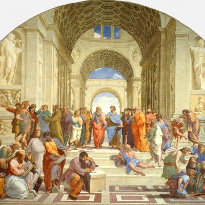 School of Athens: Epicurus, Averroes, Pythagoras Parmenides, Socrates, by Raphael