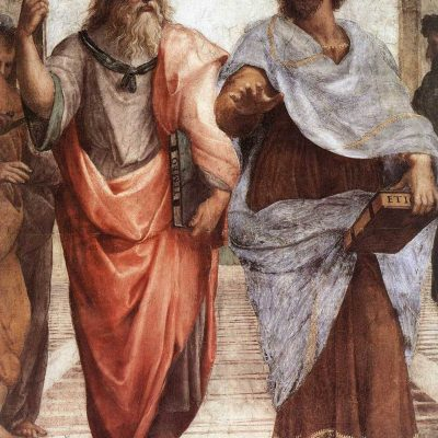 """Plato (left) and Aristotle (right), from a detail of """"The School of Athens"""", a fresco by Raphael"""