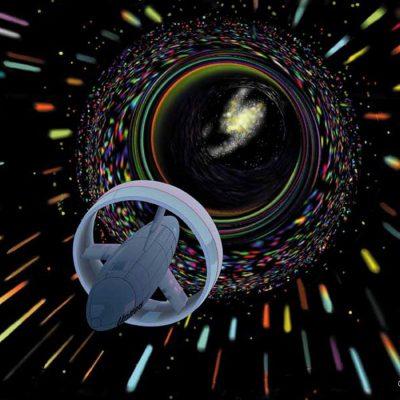 Navă spațială propulsată ipotetic cu inducție în gaură de vierme