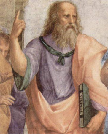 Platon în Școala din Atena, de Raphael