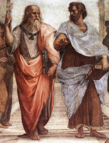 Platon (stânga) și Aristotel (dreapta), dintr-un detaliu al Școlii din Atena, o frescă a lui Raphael