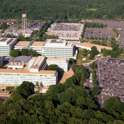 (Aerial view of the Central Intelligence Agency headquarters, Langley, Virginia.)