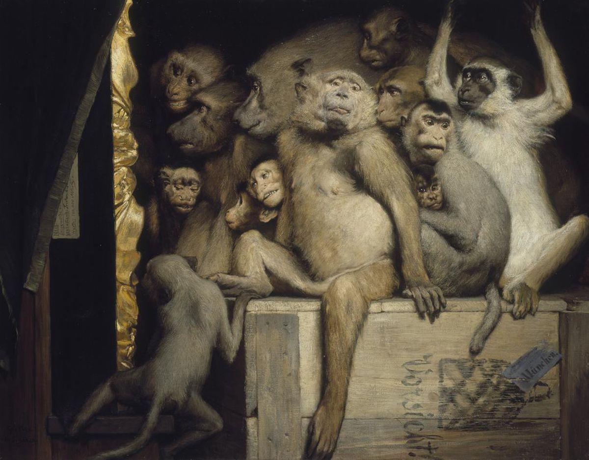 Maimuțele ca judecători ai artei, 1889, de Gabriel von Max