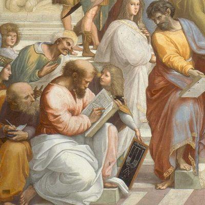 Raphael, Școala din Atena, Pitagora