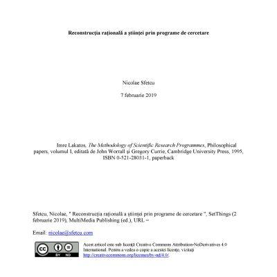 Reconstrucția rațională a științei prin programe de cercetare