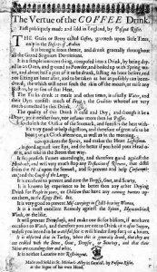 Prima publicitate la cafea-1652 - Pliant folosit de Pasqua Rosee