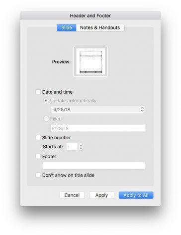 Introducerea numerelor diapozitivelor, data și subsoluri în PowerPoint