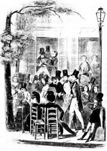 Cafe de Paris, în 1843 dintr-o gravură de Bosredon