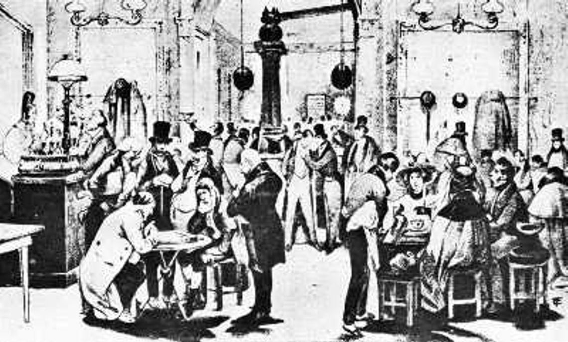 Cafenea pariziană tipică a îmceputului sec. XIX