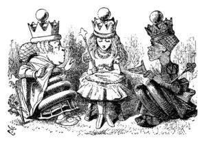 Alice cu Regina Roșie și Regina Albă, gravură de John Tenniel