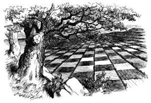 Ținutul curios, gravură de John Tenniel