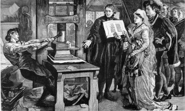 Printer working an early Gutenberg letterpress from the 15th century. (1877 engraving)