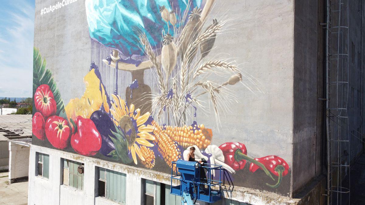 Pictură murală la Șimian împotriva poluării cu plastic