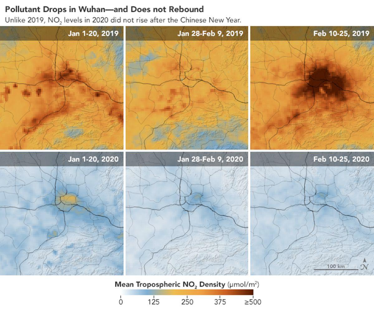 Imaginile de la Observatorul Pământului NASA arată o scădere accentuată a poluării în Wuhan