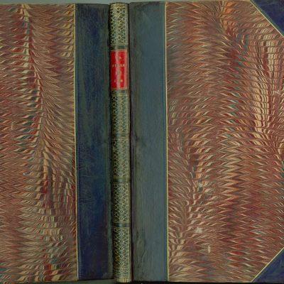 Carte semi-legată cu piele și hârtie marmorată