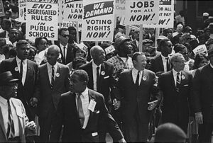 Un marș la Washington, D.C., în timpul mișcării pentru drepturile civile din 1963