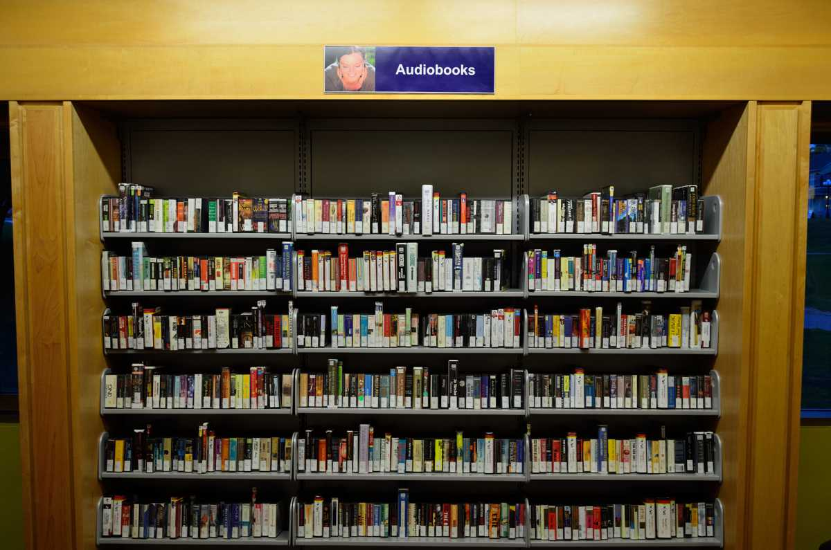 An audiobook collection in a library