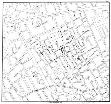 Harta lui John Snow cu cazuri de holeră în epidemia de la Londra din 1854