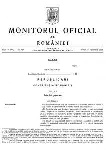 Constituția României, publicată în Monitorul Oficial din 31 octombrie 2003