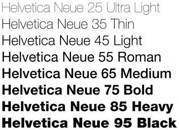 Helvetica Neue typeface weights (Fonts)