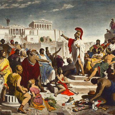 Philipp Foltz - Pericles rostind faimosul său discurs funerar în fața Adunării