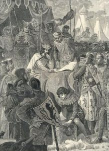 John of England signs Magna Carta.