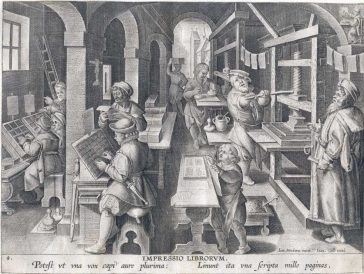 The invention of printing, anonymous, design by Stradanus