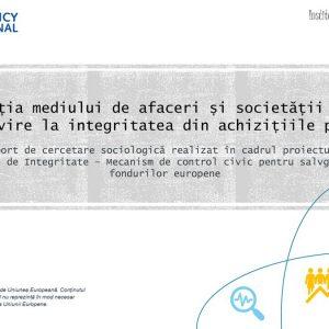 Percepția mediului de afaceri și a societății civile cu privire la integritatea în achiziții publice