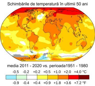 Temperatura medie a aerului la suprafață din 2011 până în 2020 comparativ cu media de referință din 1951 până în 1980